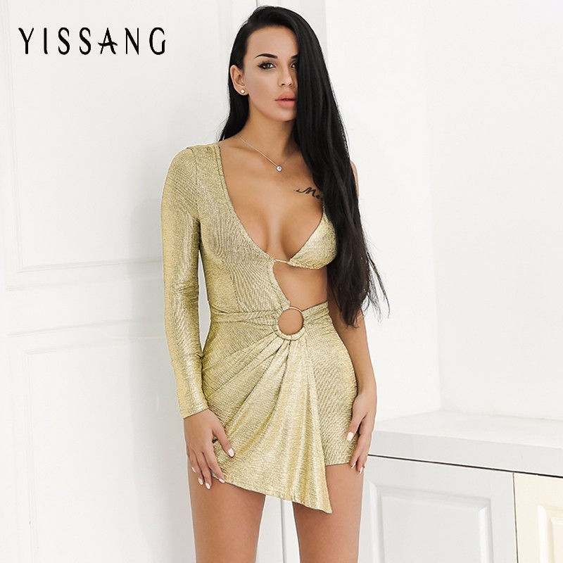 0dcf9e556a2 Yissang Long Sleeve Summer Palysuits V Neck Backless Women Short Jumpsuits  Night Club Party Sexy Casual Rompers Playsuit -in Rompers from Women s  Clothing ...