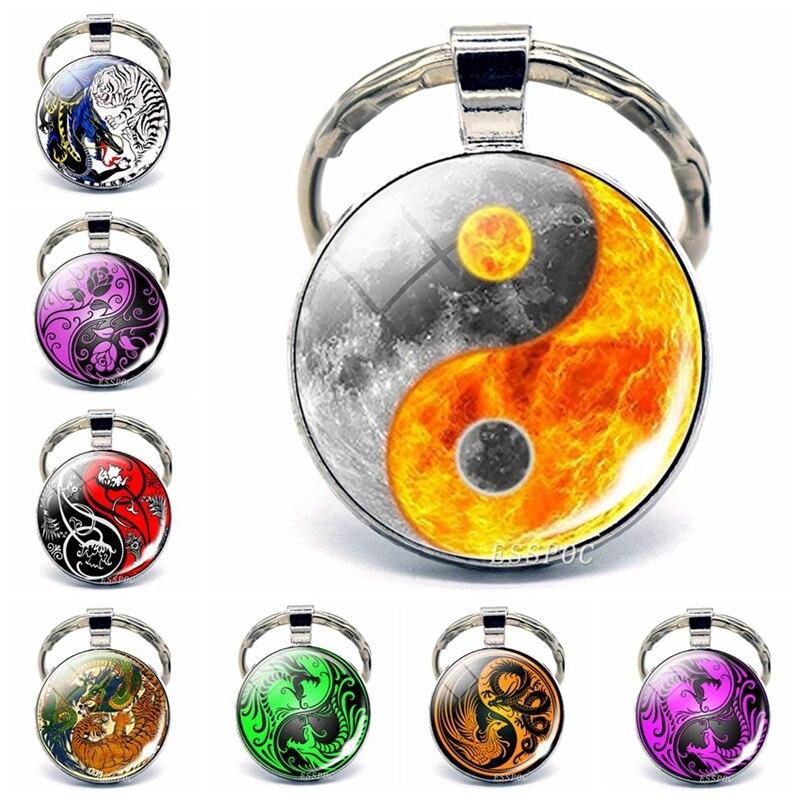 Yin Yang Keychains Art Yin Yang Tai Chi, Dragon, Bianhua Picture Glass Cabochon Metal Keychain Fashion Accessories For Men Women