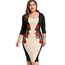 Wipalo Plus Size Color Block Embroidered Bodycon Dress Elegant Embroidery Party Dress Plus Size 3/4 Sleeve Keen Length Dress 5XL(China)