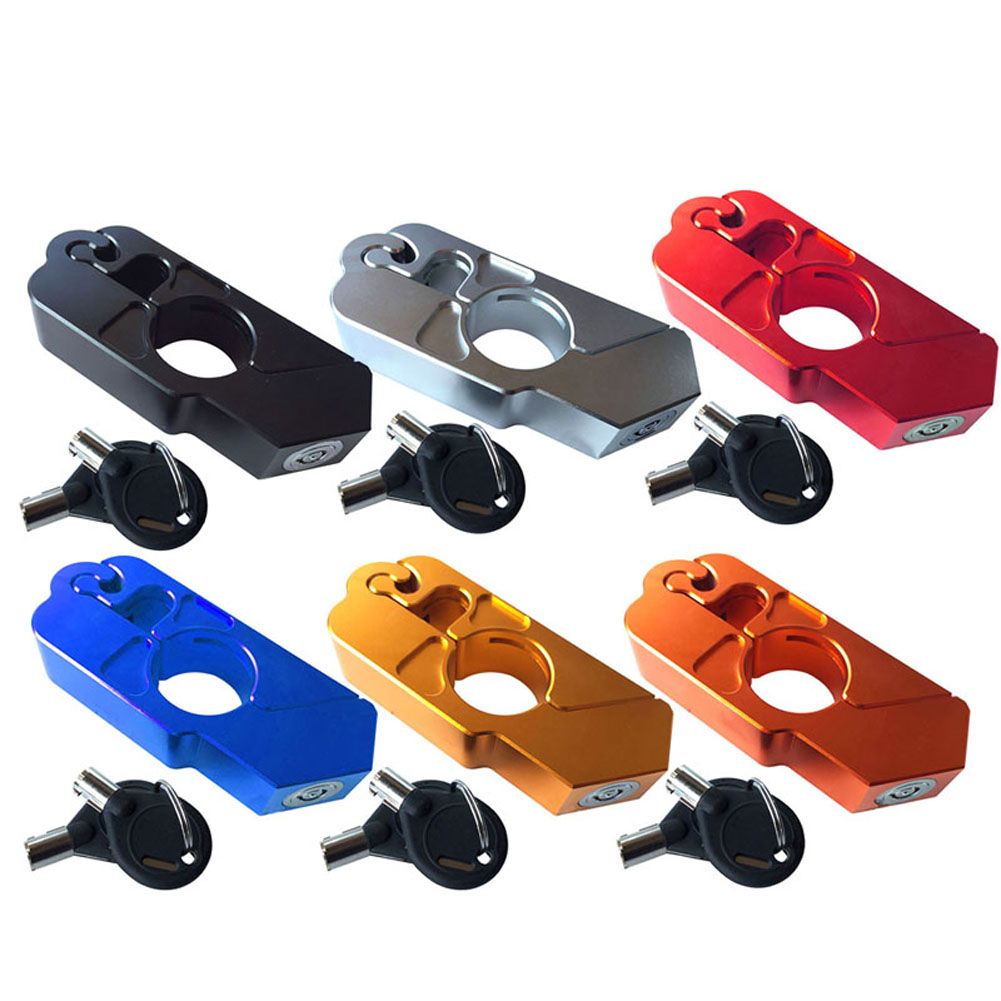 CNC Motorbike Scooter Bike Handlebar Safety Lock Brake Throttle Grip Protection With Keys YAN88