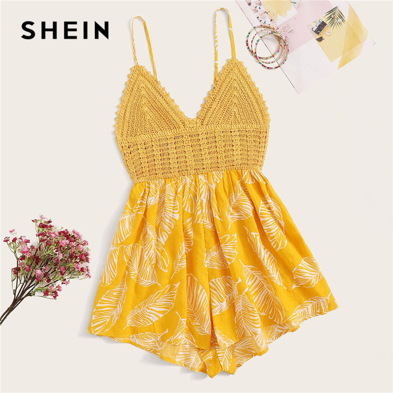SHEIN Yellow Crochet Bodice Knot Back Plants Print Cami Romper Women Summer V-neck Rompers Womens Jumpsuit Boho Cute Playsuit