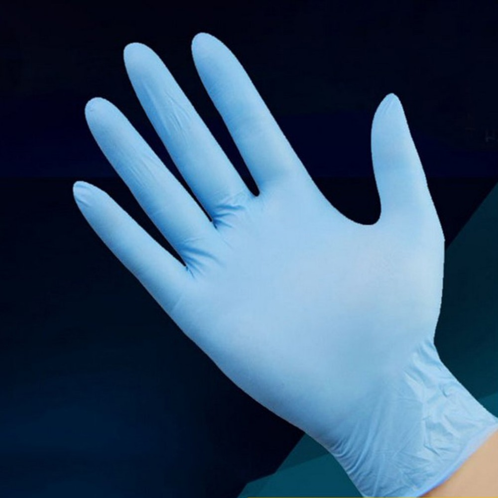 100pcs/box Blue Nitrile Disposable Gloves Wear Resistance Chemical Laboratory Electronics Food Medical Testing Work Gloves