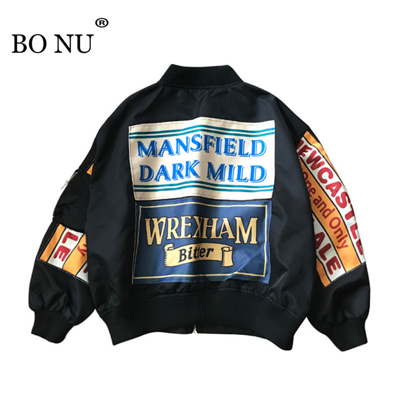 Spring   Jacket   Women Windbreaker Coat Patch Designs Harajuku Loose Bomber Streetwear Casual   Basic   Coat Oversize Short   Jacket