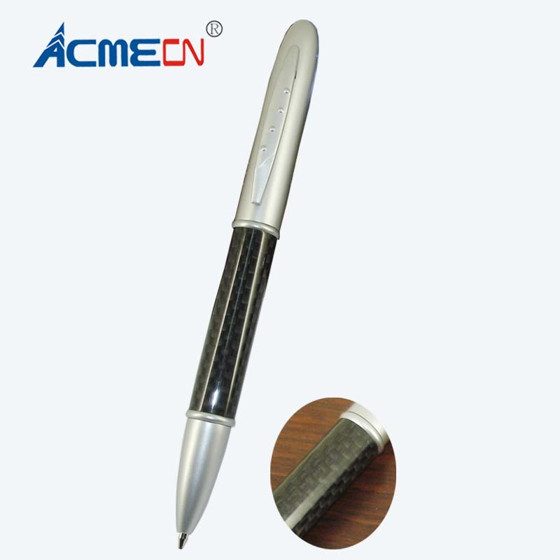 Free shipping Classical Twist Action Silver Carbon Fiber Ball Pen