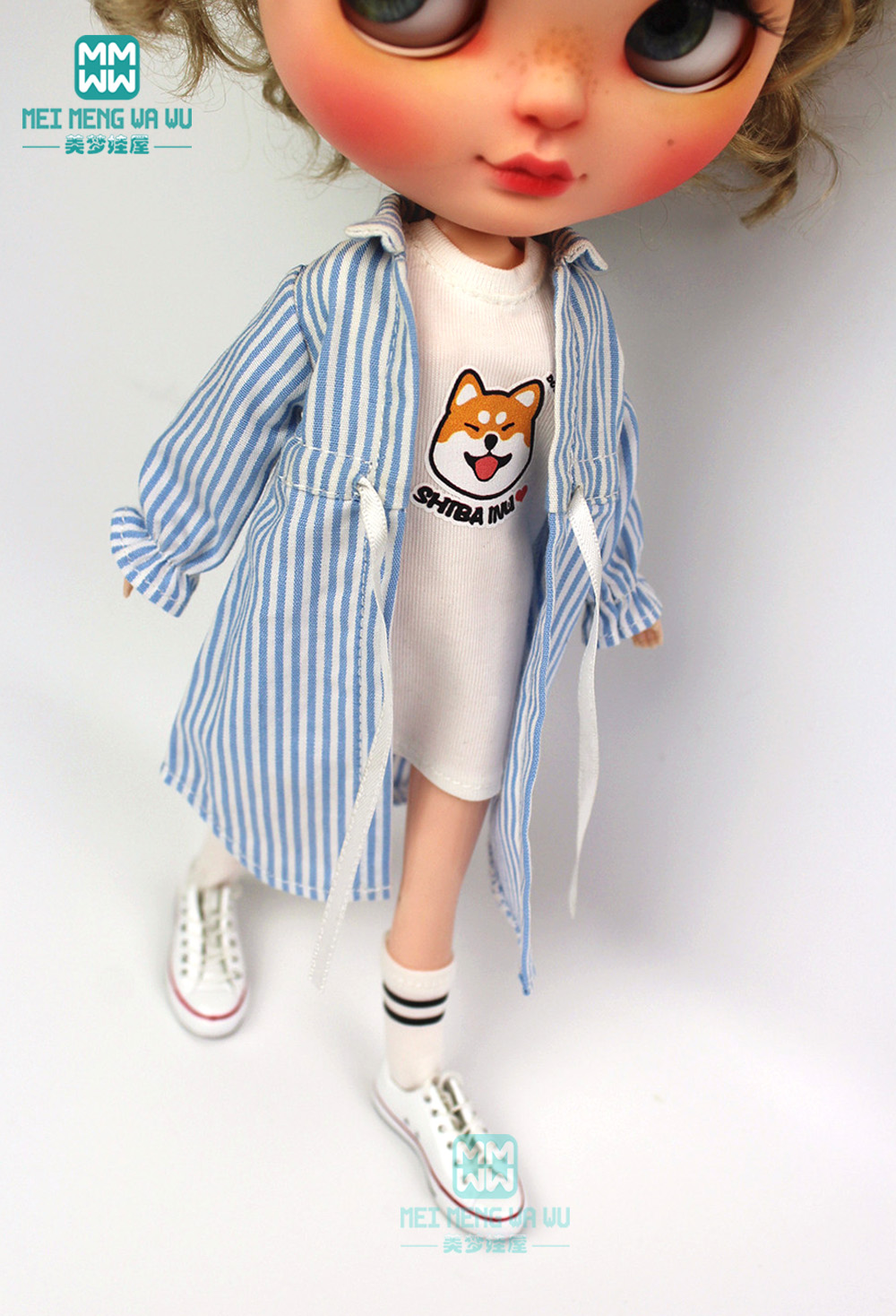 1pcs Blyth Doll Clothes Casual Striped Shirt, Long T-shirt For Blyth Azone1/6 Doll Accessories