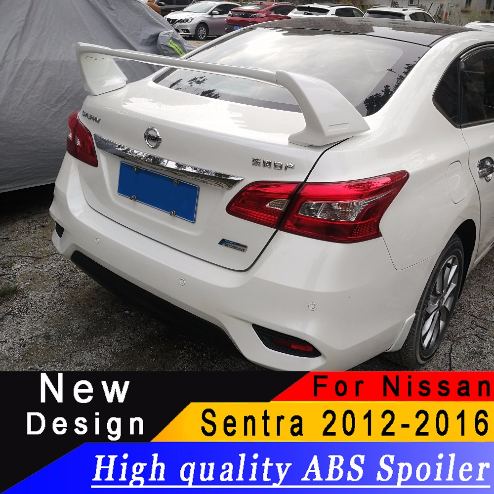 For Nissan Sentra 2012 2016 high quality ABS material spoiler Sentra rear trunk spoiler Primer or black or white rear wing