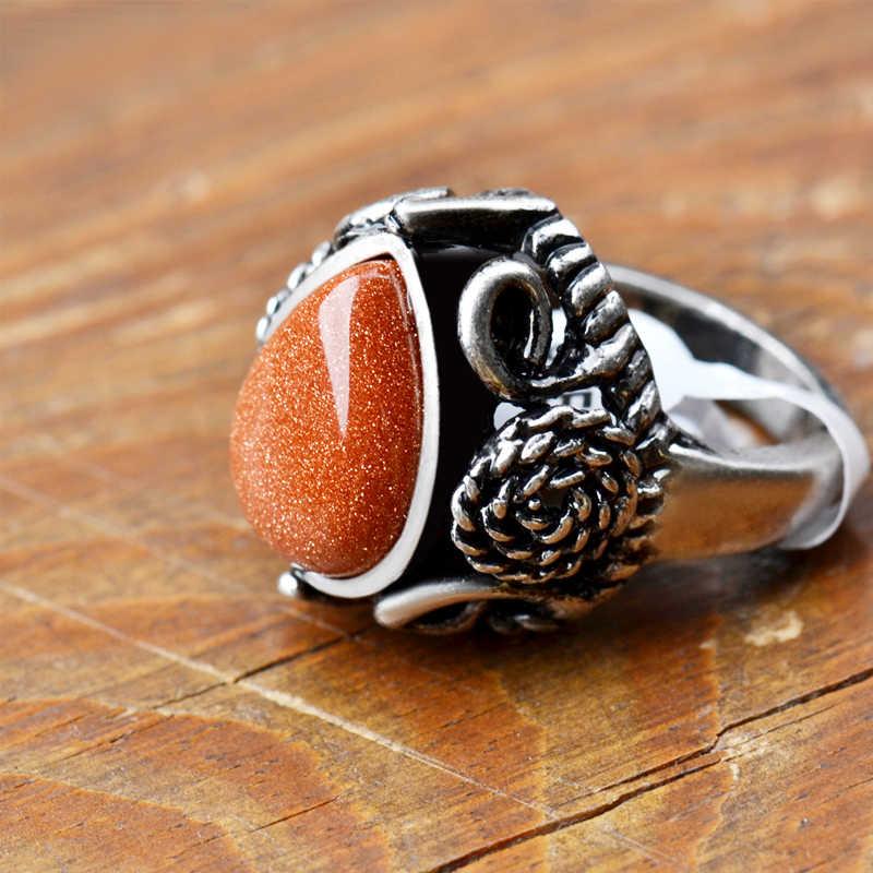 ผู้หญิงหินทรายแหวนโบราณ Hollow out ดอกไม้ Silver Golden น้ำ Droped Aventurine การตั้งค่า Vintage แหวนเครื่องประดับ