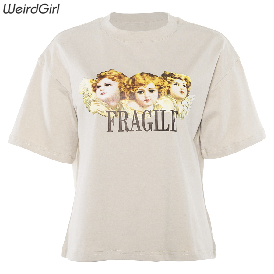 Weirdgirl Women Baby Angel Printing Casual Fashion T-shirts letter Short Sleeve O-Neck Khaki Loose Female Tees Summer New 19 14