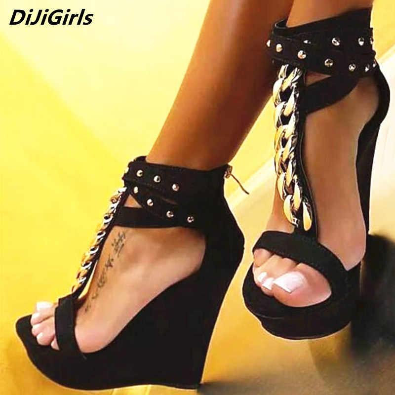 cde1035487d DiJiGirls Women Sandals Platform Shoes Wedges Punk T Strap Metal ...