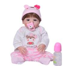 Hot 23 '' Full Vinyl Body Reborn Baby Dolls Partihandel Verkligen Realistisk Livlig 57 cm Babies Girl Doll With Magnetic Pacifier Toy