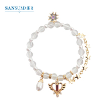 Sansummer Fashion Crystal Female Bracelet Love Stars Flower Glamour Party Wedding Accessories Simple Jewelry 6794