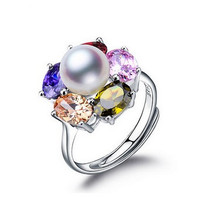 Women Gift word 925 Sterling silver real Flowers crystal water freshwater pearl ring 9 10MM