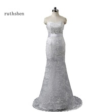 2017 New Real Sample Cheap Wedding Dresses Under 100 White Lace Mermaid Sequin Beaded Vestido De Boda In Stock Sexy Robe Mariage(China)