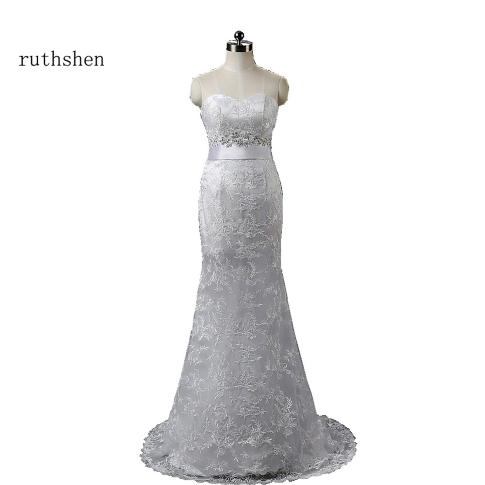 Us 53 0 2018 New Real Sample Cheap Wedding Dresses Under 100 White Lace Mermaid Sequin Beaded Vestido De Boda In Stock Sexy Robe Mariage In Wedding