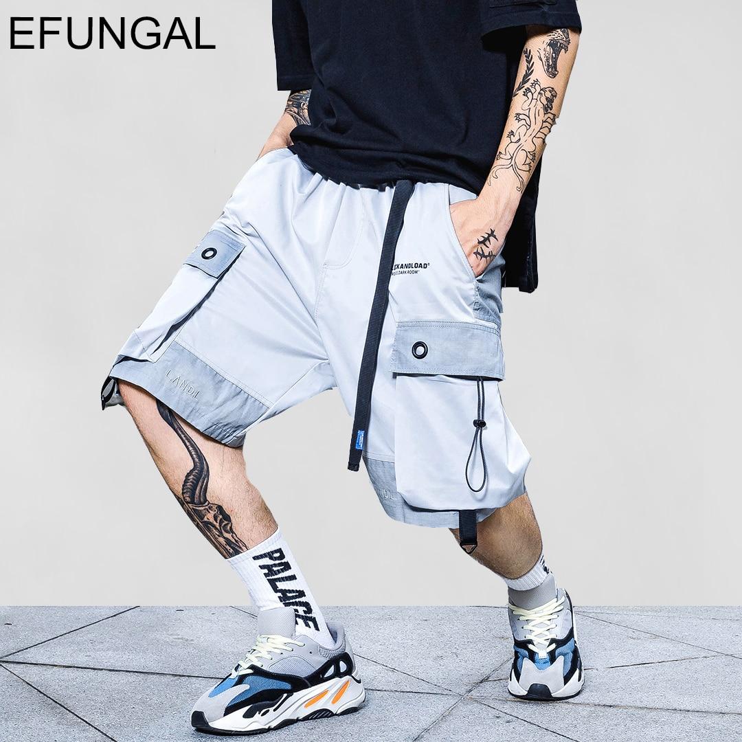 EFUNGAL Hip Hop Knee Length Pocket Reflective Stripe Summer Shorts Men 2020 Fashion Streetwear Loose Jogger Male Urban Shorts