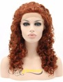 Curly Auburn Wig Lace Front Synthetic 100% Fiber Hair Wigs Heat Resistant Half Hand Tied for African American Women