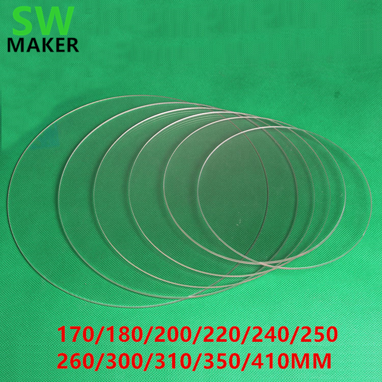 DIY Delta 3D Printer Round borosilicat glass plate 3mm Thickness Diameter 170-180-200-220-240-250 26