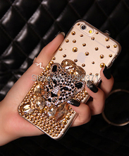 Gold Fox Leopard Bling Diamond Phone Case Cover For Iphone 7 6S Plus 5 5C 4