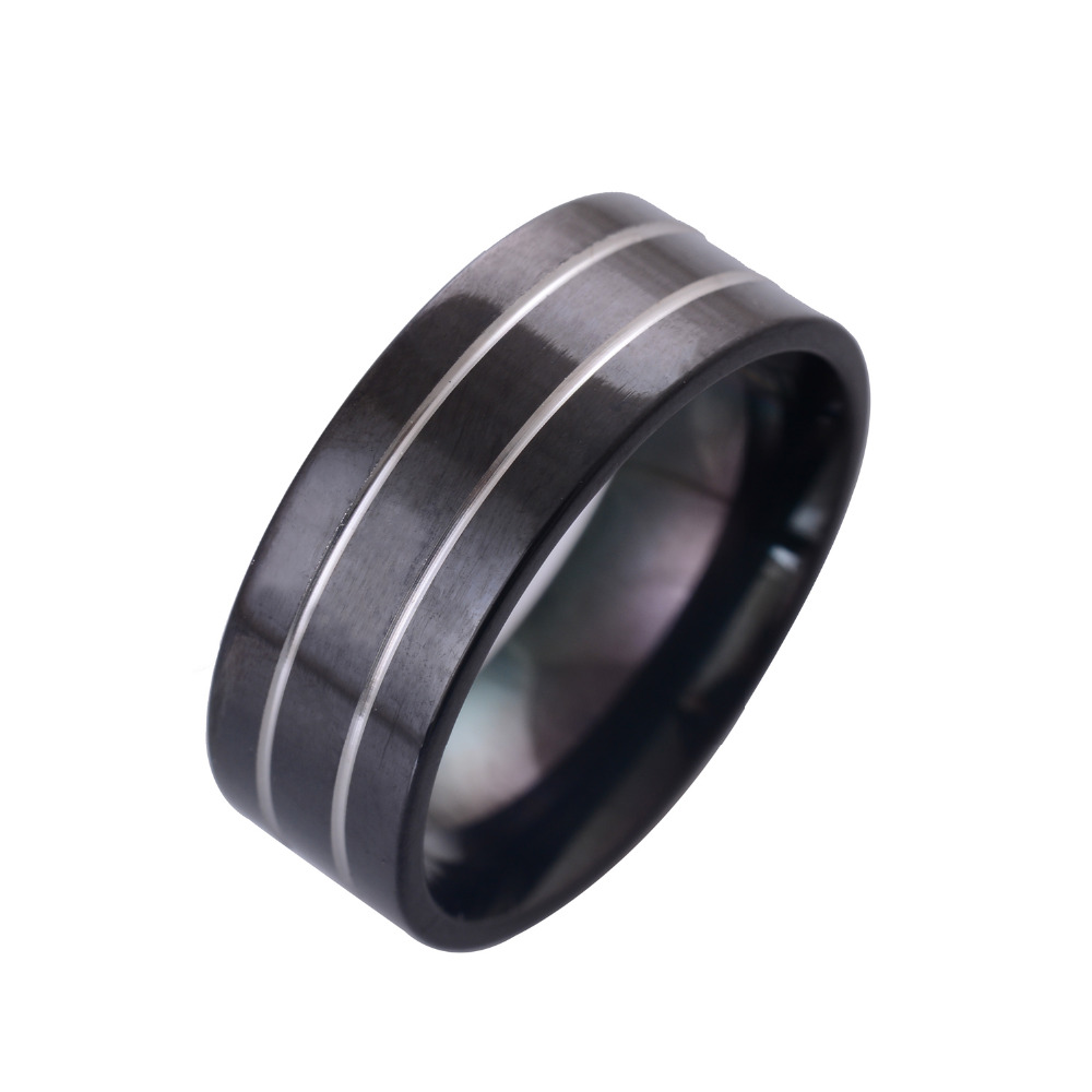 New Design Womens Stainless Steel Ring Black Gun Plated Fashion Punk Party Jewelry Finger Rings Valentines Day Gifts IR007