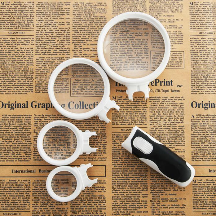 8X 10X 15X 20X Lens Replaceable Portable Handheld Magnifier with 2 LED Lamps Illuminant Reading Magnifying Glass Free Shipping