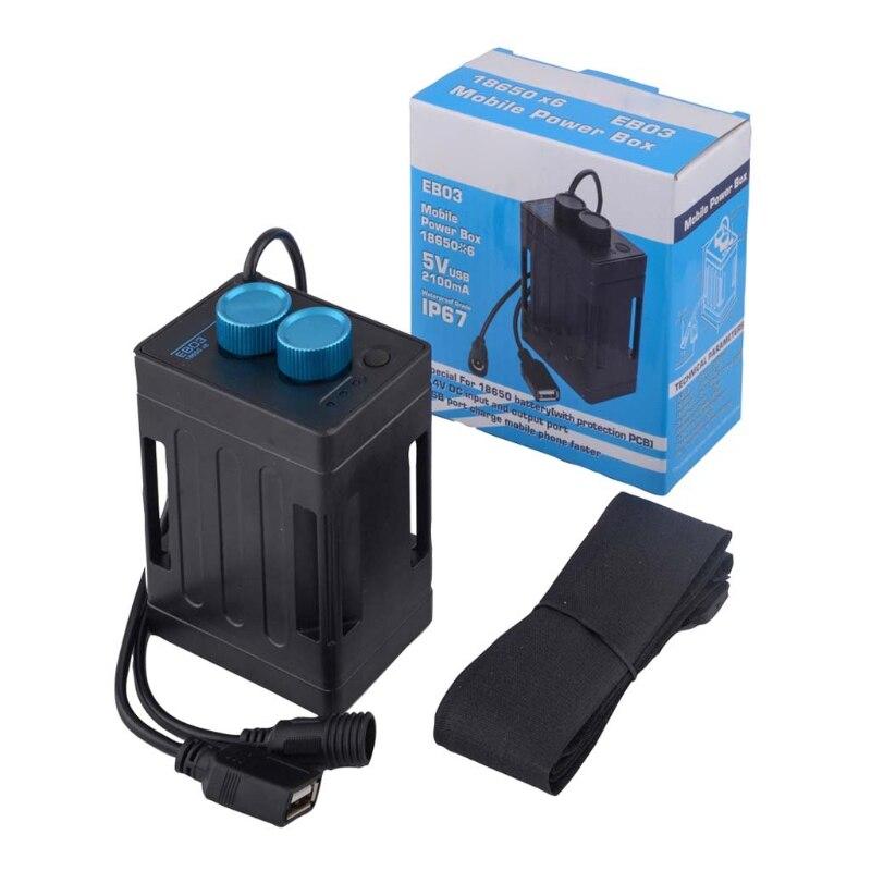 5 v 8.4 v 6x18650 caixa de bateria à prova dwaterproof água capa para lâmpada de bicicleta celular