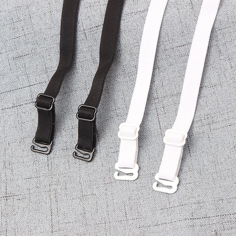 1 pair good quality black white 1cm width nylon elastic bra straps with metal clips 6