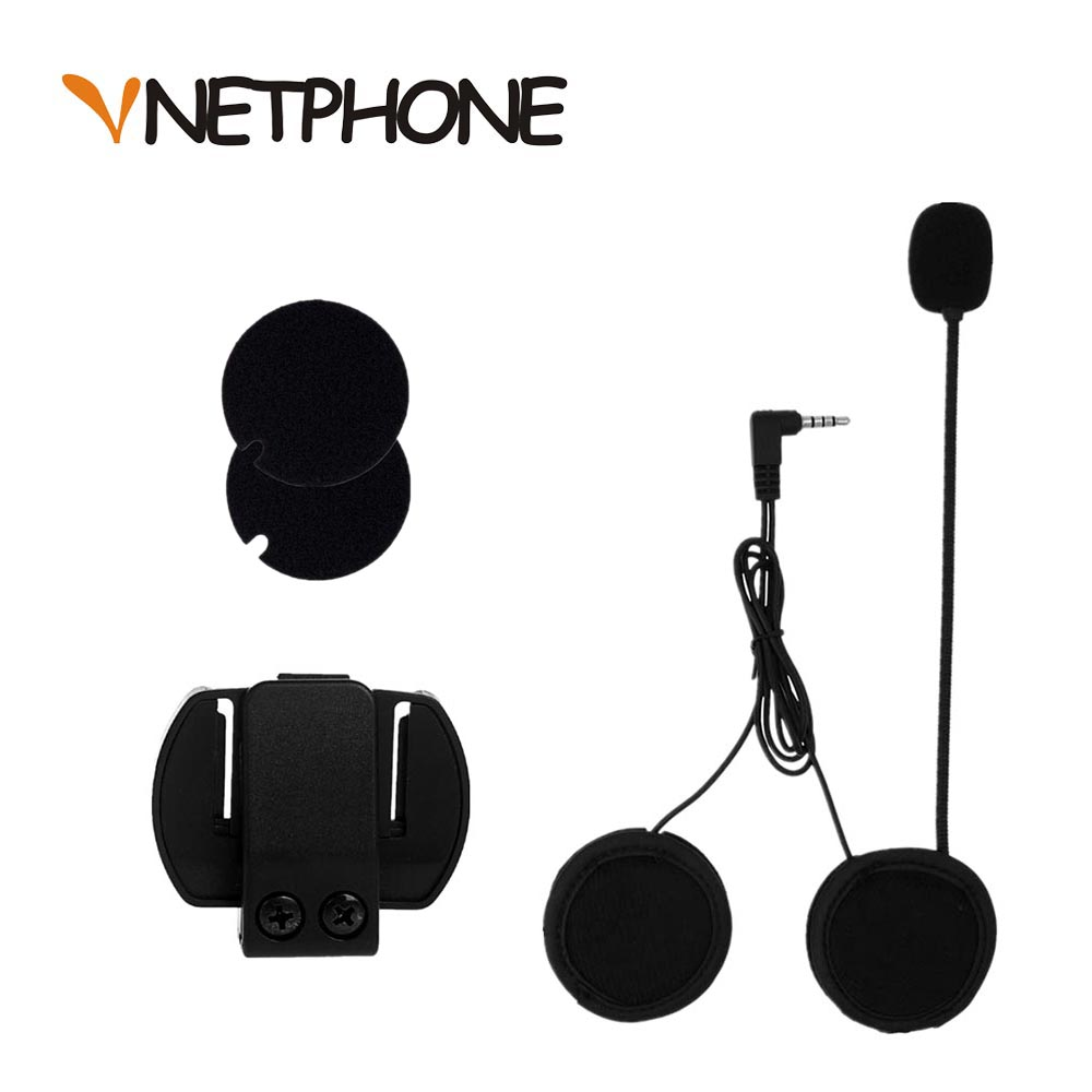 2019 3.5mm Wired Microphone & Universal Helmet Clamp For Motorcycle Bluetooth Intercoms VNETPHONE V4 V6