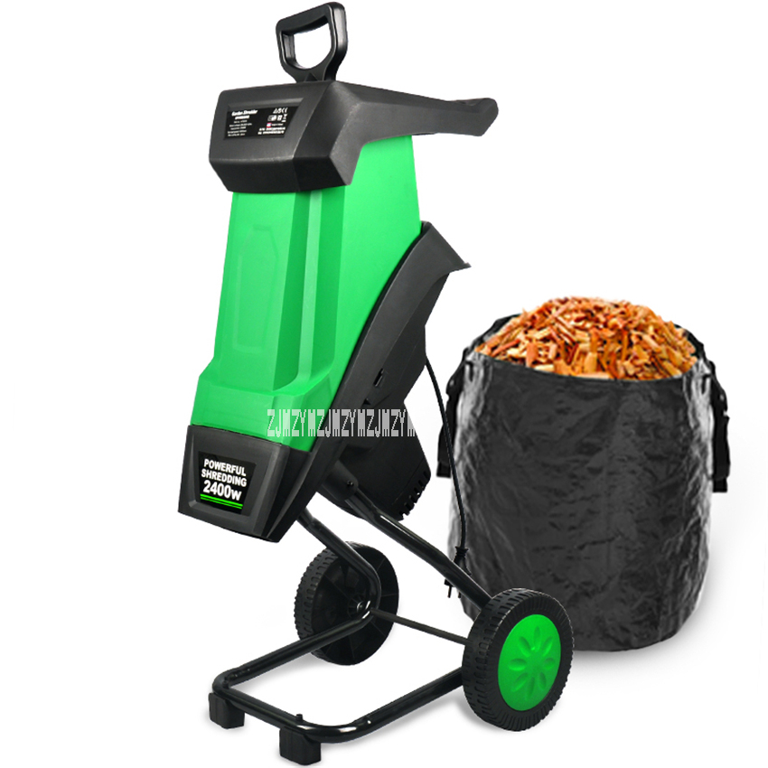 HT6533 Powerful Wood Chipper Branch Crusher Electric Breaking Machine 2400W Tree Branch Crushing Machine Garden Tool 220V