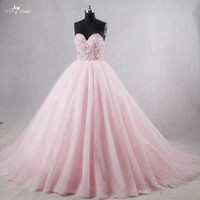 RSE184 Real Photos Yiai Sweetheart Neckline Lace Up Back Tulle Ball Gown Crystal Pink Wedding Dress
