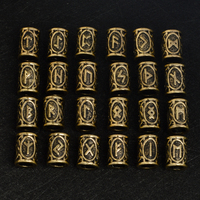 Norse Viking Runes Beads Antique Gold Silver 24 Style Beads For Bracelets For Pendant Necklace For