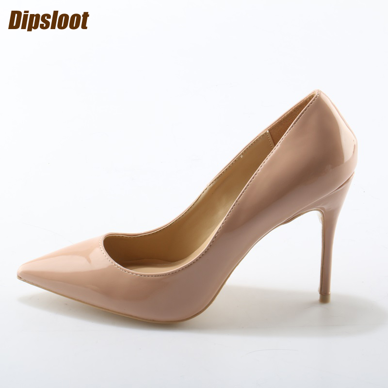 New Fashion Nude/Black Patent Leather Women Pointy Toe Pumps 12cm High Heels Ladies Sexy Wedding Shoes Concise Style Party Shoes size34 39 shoes woman red pumps high heels 9 cm party wedding shoes patent leather pointed toe sexy black nude womens shoes