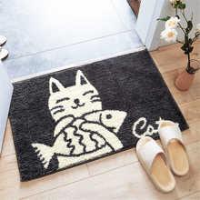 Nordic Cartoon Indoor Entrance Doormat Flocking Cute Cat Fish Rugs Absorbent Foot Door Mats Machine Wash Kitchen Bathroom Carpet