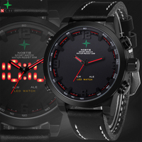 LED Mens Watches Top Brand Luxury Analog Digital Sport Watch Leather Quartz Military Wristwatch Reloj Digital