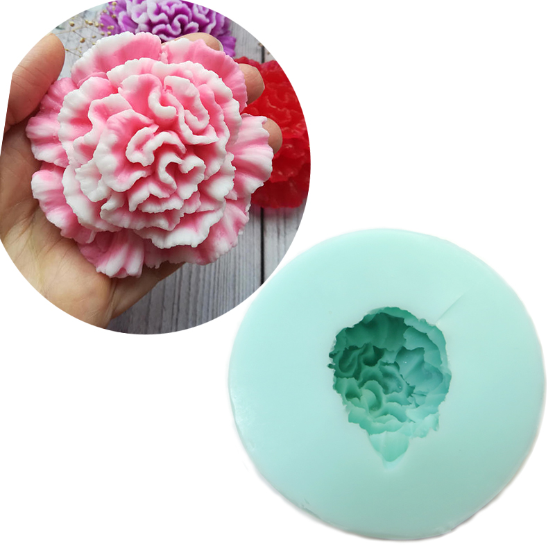 PRZY HC0024 Carnation 3D mold Flower Mold Silicone soap molds candle chocolate mould Wedding Cake Topper Mould
