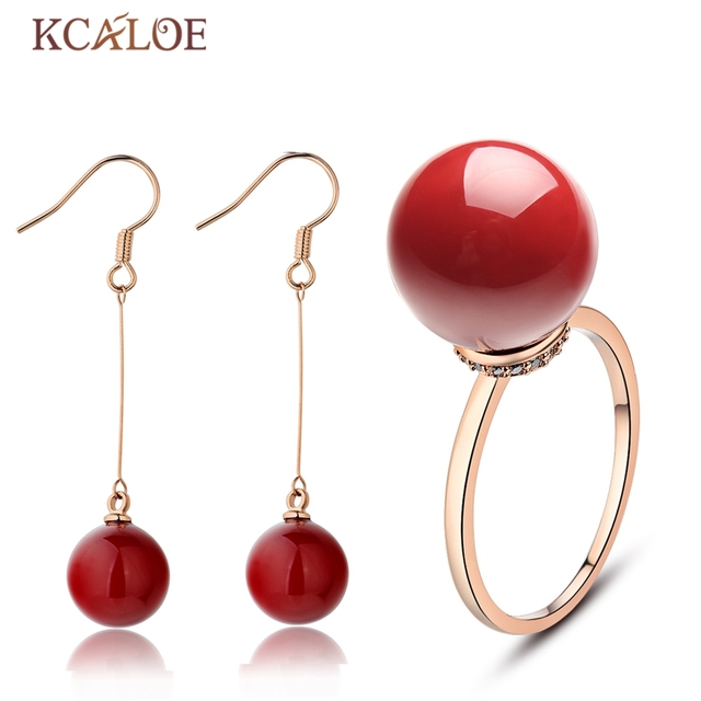 Kcaloe Women Red Drop Earrings Ring Artificial C Jewellery Sets Fashion Rose Gold Color Wedding Jewelry