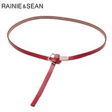 RAINIE SEAN Knot Belt Women Red Real Leather Female Thin Designer Brand Simple Genuine Cow Ladies Dress Belts