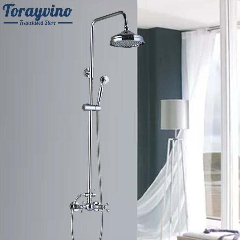 Bathroom Wall Mounted Bathroom Shower Mixer Faucet Set Two Handle Brass Handshower 8 Rainfall Shower Taps System brass thermostatic mixer valve shower set mixer faucet two handle wall mount shower kit stainless steel 10 rainfall showerhead