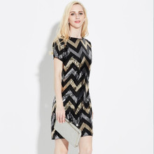 Robe Wave Pattern Geometric Straight Vintage Gatsby Sequin Stunning Short Sleeve Mini Fitted Lady Cocktail Dresses Party Dresses