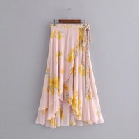 2019 Summer Women Floral Print Flowing Sarong Bohemian Skirt Sashes Casual Front Crossover Hem Asymmetric Ruffle Maxi Skirt