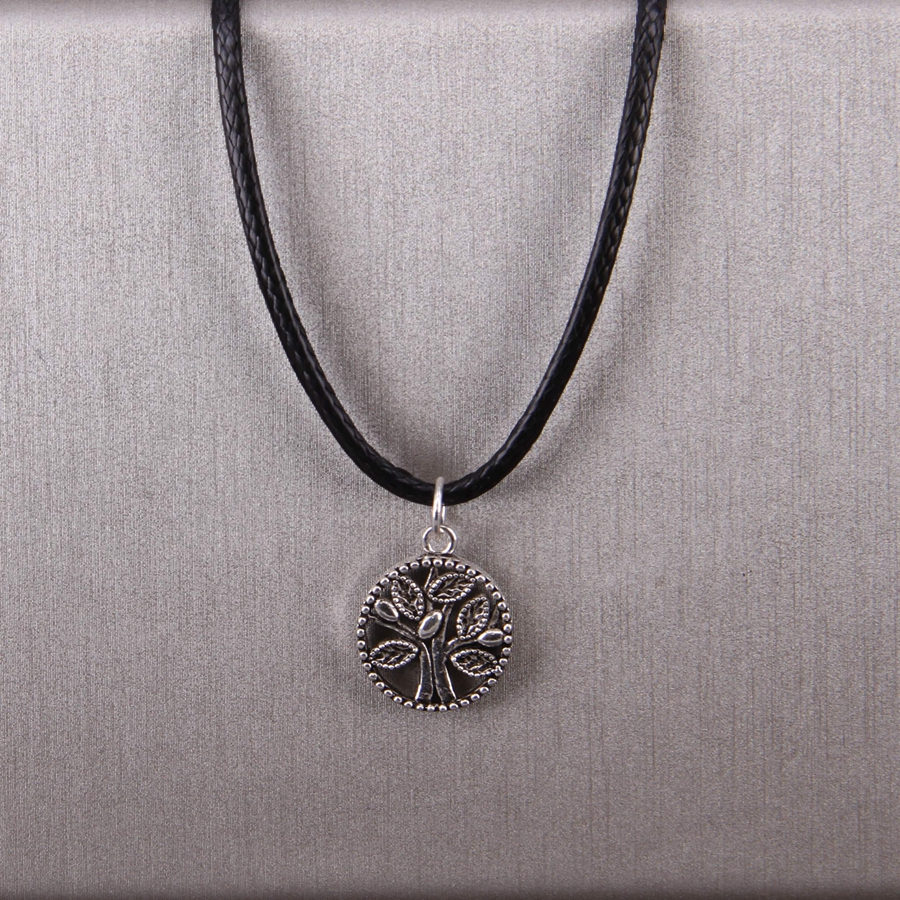Woman Necklace Pendant Tree of life faux leather white silver filigree