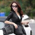 2015 Autumn Couro Leather Slim Blazer Women Casaco Jacket Female Leather Jackets Coat Size M L XL XXL XXXL 4XL 5XL
