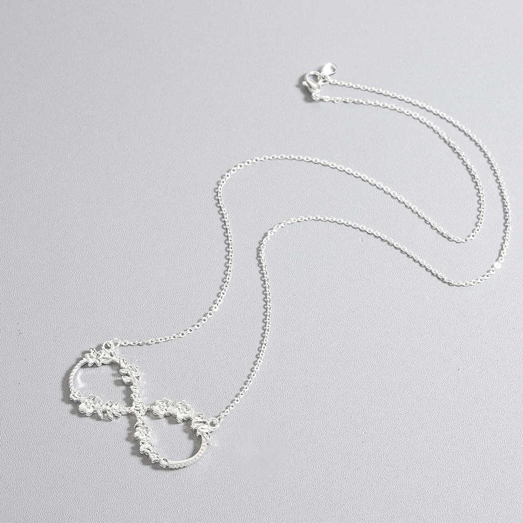 QIMING róża kwiat nieskończoność naszyjnik kobiety biżuteria ze stali nierdzewnej ślubne Chic szczęście numer osiem mężczyzn oświadczenie biżuteria prezent