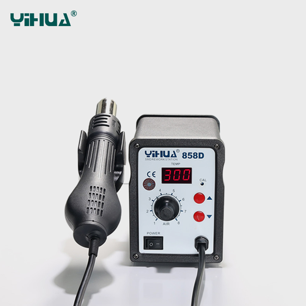 YIHUA 858D Soldering rework station Electric Soldering Station Welding hot air gun Digital BGA Rework Station 220V 110V EU US UA yihua 898d led digital 700w lead free smd desoldering soldering station hot air soldering station