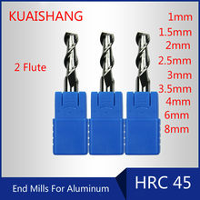 KUAISHANG 2-Flute 1~8mm Solid Carbide End Mills For Aluminum CNC Milling Cutter HRC45 Tungsten Steel End Mills CNC Router Bits(China)