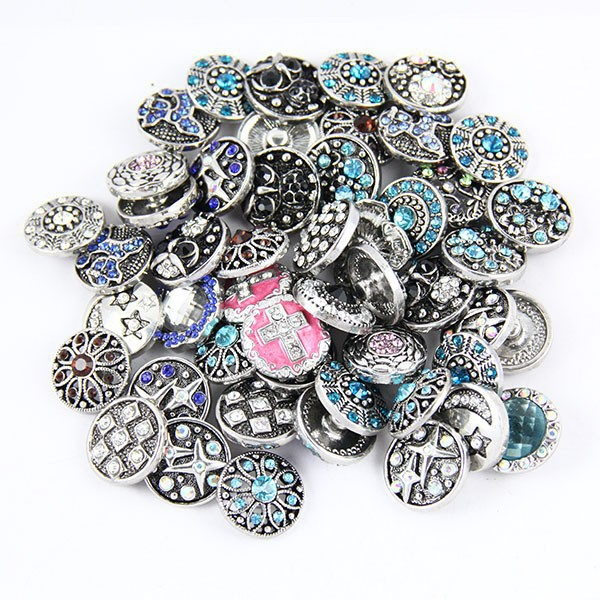 10pcs/lot Mix wholesale snap button High quality 18mm 20mm Metal Snap Button Rhinestone Styles Button Snaps bracelet Jewelry image