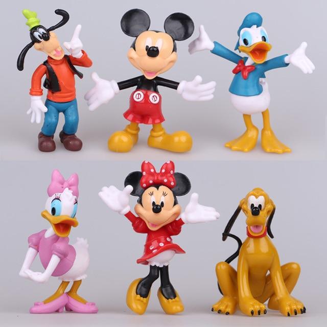 Disney Mainan 6 pcs Lot Mickey Mouse Action Figure Mainan 10 cm Lucu Mickey    b34bd06a89