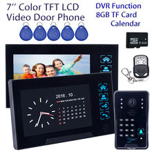 "Envío libre! 7 ""Teléfono de La Puerta de Campana WD02SRR12 HD Cámara 2x ID Del Intercomunicador del Monitor DVR 8 GB de Control Remoto tarjeta"