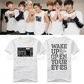 BTS первого ЯПОНСКОГО ТУРА 2015 ПРОСНУТЬСЯ ОТКРЫТЬ ГЛАЗА Футболка kpop одежду хип-хоп звезды футболки