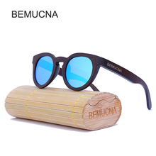 2017 New BEMUCNA Wooden Sunglasses Women Fashion Sun Glasses For sunglasses Women Brand Design Mirror Eyewears UV400 de sol