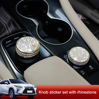 QHCP Driving Mode Knob Cover GPS Navigation Switch Knob Stickers Diamond Crystal Rhinestone Silver Gold For Lexus RX300 20T 450H